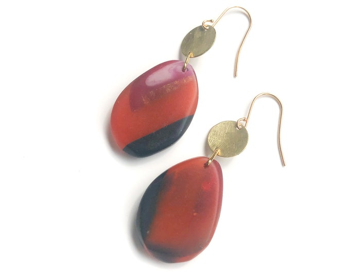 Resin earrings: handcrafted drop earrings rust and deep blue resin with brushed brass discs