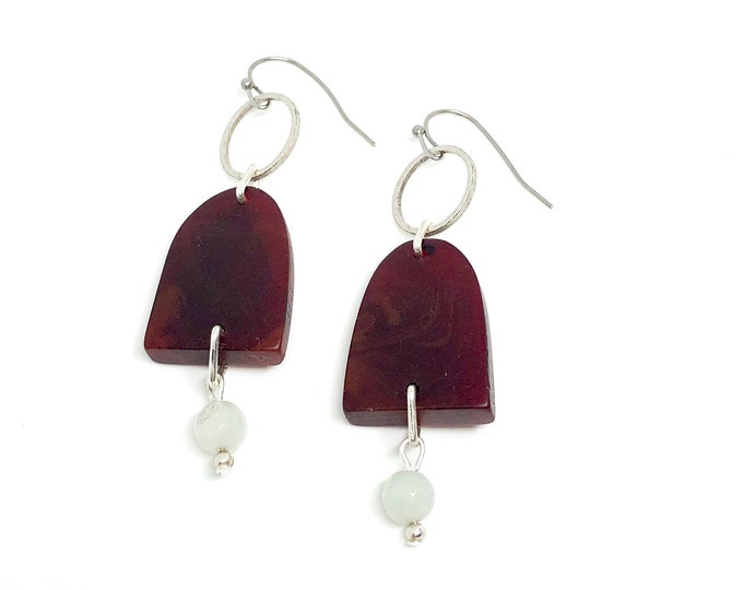 Resin earrings: hand sculpted deep red resin with semi precious stones and silver details