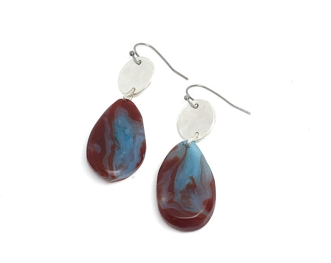 Resin and sterling silver earrings: hand sculpted originals, deep rust and blue marbled resin with recycled sterling silver discs