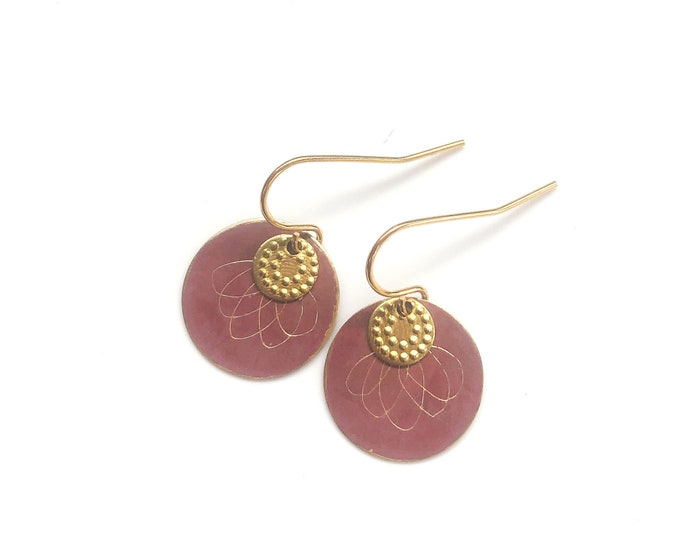 Patina earrings: handmade red etched discs with brass details