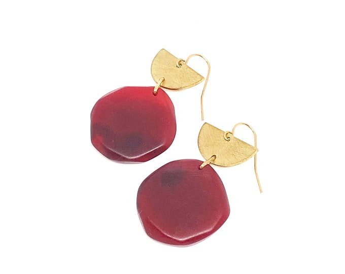 Resin earrings: hand sculpted ruby red resin with brushed brass semi circles