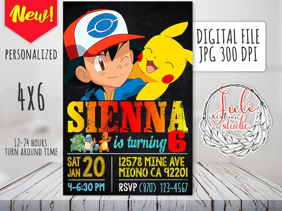 Pokemon Invitation Digital Birthday