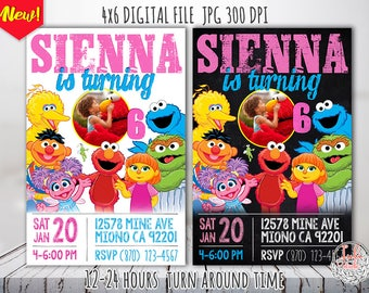 Sesame Street Invitation with photo, Sesame street birthday invitation elmo, Sesame street party printable, Elmo invitation first birthday