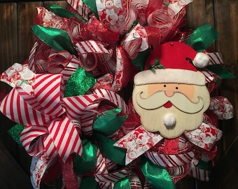 Santa Wreath, Christmas Wreath, Deco Mesh Wreath