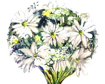 Daisy Bouquet Watercolor Print, Digital Download from Original Painting