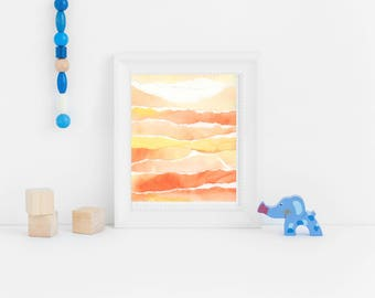 Orange Abstract Watercolor Print, Digital Download from Original Painting