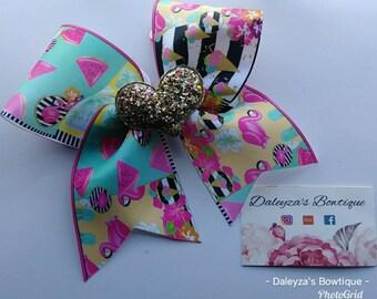 Pink Flamingos cheer bow, watermelon cheer bow, ice cream cheer bow, flamingo bow, ice cream bow, watermelon bow, pink flamingos