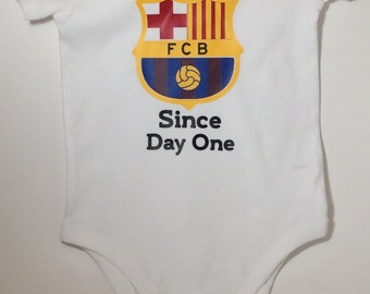 dfc9e3eb8fb FCB onesie  baby soccer onesie  soccer bodysuit  barcelona