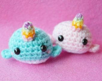 Handmade Crochet Lolli-horned Narwhal (Amigurumi)