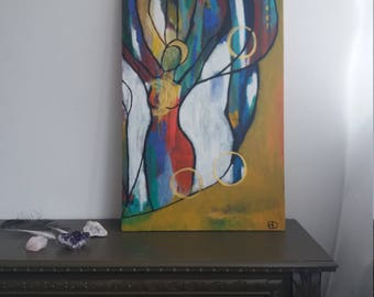 "Original painting ""Aira"" modern spiritual artwork with soul intuition energy,  acrylics on wood"