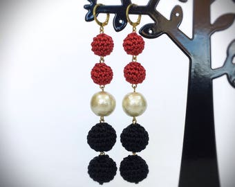 Cotton Pearl and Crochet Ball earrings