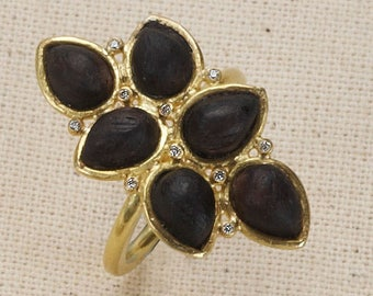 18k gold ring with ebony wood and diamonds, statement ring, designers ring