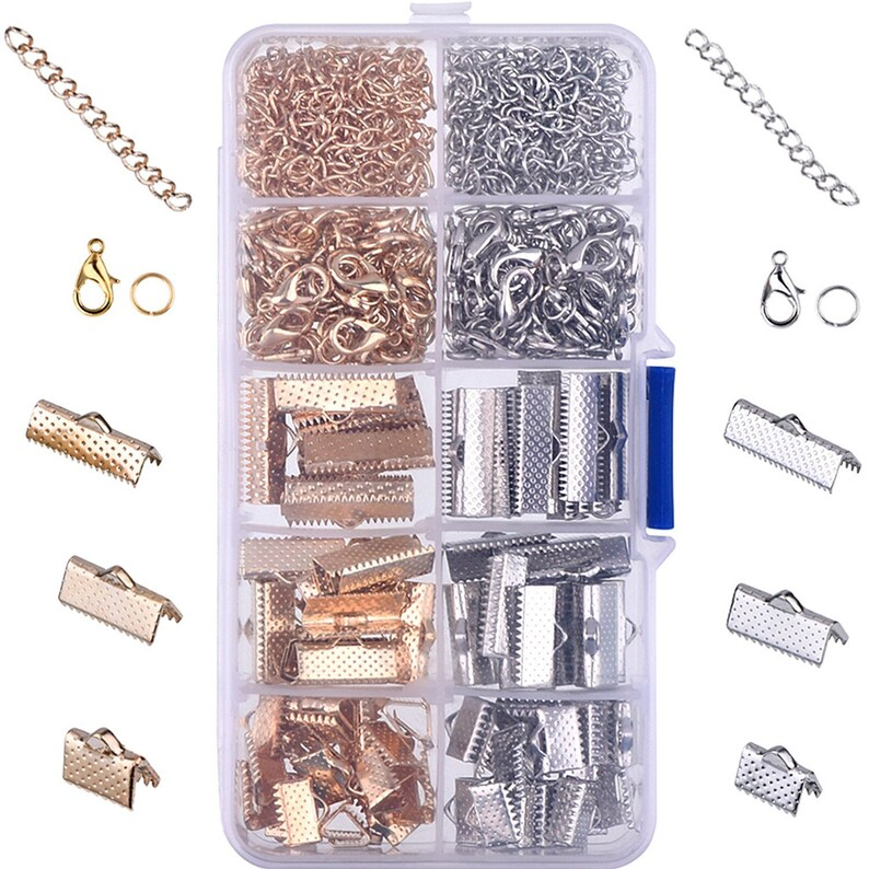 12mm Clasps /& Blue Glass Drop 6 sets Silver Plated Crimp Ends for 16mm Ribbon