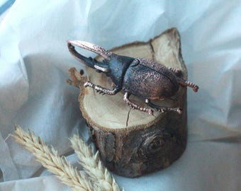 Vintage copper brooch electroformed beetle