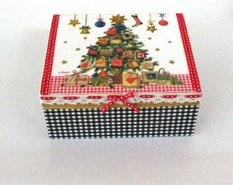 christmas jewelry box, christmas box in vintage style, christmas sewing box,  home decor for christmas, gift for girls, christmas eve gift