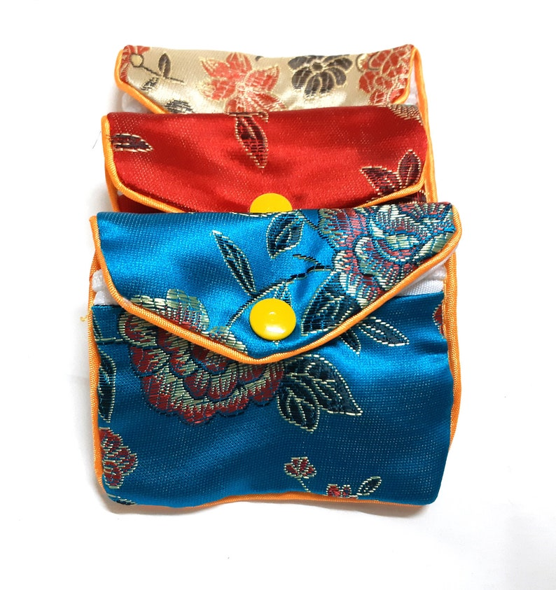 mix color zip gift bag patterns silk jewelry bag Satin gift pouch 8x6cm wedding favor pouch wholesale