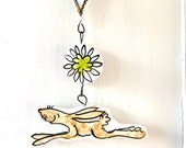 Hare hanging pottery ornament