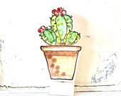 Cactus pottery ornament