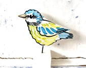 Bluetit pottery ornament / bird ceramic gift /  LouiseCJceramics