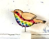 Rainbow Robin pottery ornament / christmas ceramic gift