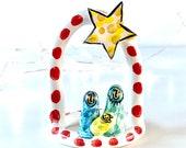 Nativity scene pottery ornament / christmas ceramic gift