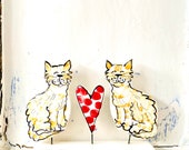 Cats pottery ornament /  Gingercat in love vintage type ceramic ornament