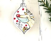 Masked Rudolf Christmas 2020 pottery ornament / Reindeer tree home decor