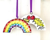 Rainbow Holly pottery Christmas ornament / ceramic home thank you gift