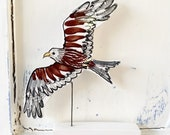 Red kite pottery ornament / bird of prey ceramic gift