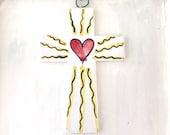 Pottery Sacred Cross / Sacred Heart ceramic crucifix