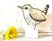 Wren pottery ornament