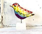 Bird pottery ornament / rainbow ceramic gift
