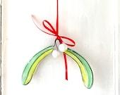 Mistletoe pottery ornament / home gift / hanging wreath christmas  gift