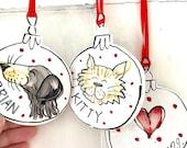 Pet portrait Bauble / Christmas ceramic gift