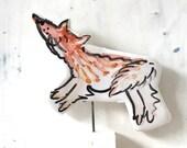 Fox pottery ornament / foxy ceramic gift