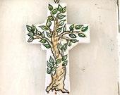 Pottery Tree Cross / Tree of life ceramic crucifix