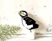 Puffin pottery ornament