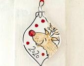 Rudolph Christmas 2020 pottery ornament / Reindeer tree home decor
