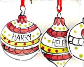 Family Christmas Decorations set of 4 / personalised christmas ceramic gift