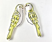Budgies pottery wall art / vintage style pair of green ceramic budgerigars