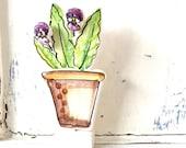 Violas Flowerpot pottery ornament