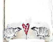 Badger pottery ornament /  Badgers in love vintage type ceramic black and white ornament