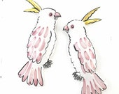 Cockatoos pottery wall art / vintage style pair / pink and yellow ceramic birds