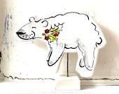 Polar bear pottery ornament / christmas ceramic gift