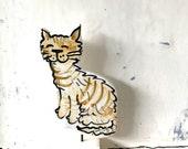 Cat pottery ornament / ceramic home gift /  kitten figurine