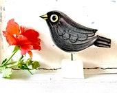 Blackbird pottery ornament
