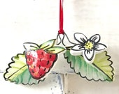 Strawberry hanging pottery ornament