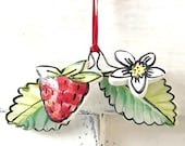 Strawberry pottery window ornament / home gift / hanging thank you gift
