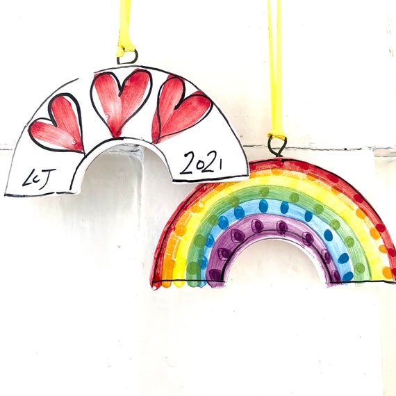 Rainbow pottery ornament / ceramic home thank you gift