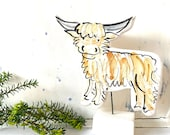 Highland Cow pottery ornament